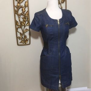 AX Armani Exchange Denim Zip Front Dress P 0